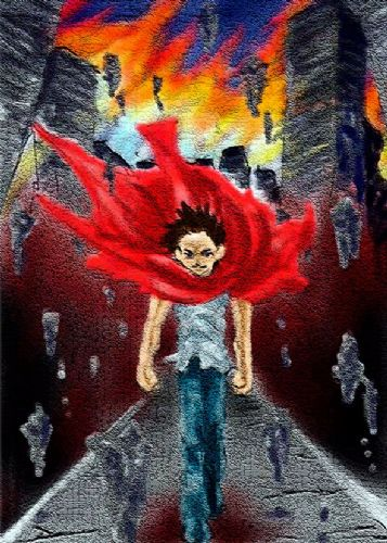 AKIRA - TETSUO FLAMES - portrait canvas print - self adhesive poster - photo print